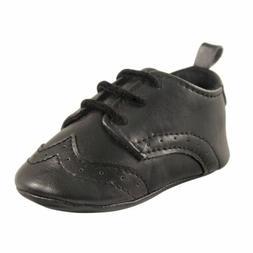 Luvable Friends Boy Wingtip Dress Shoes, Black, Black