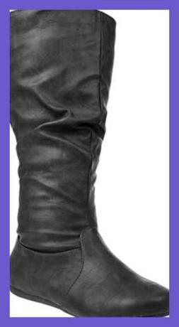 Enimay Women's Winter Fashion High Mid Calf Leather Slouchy