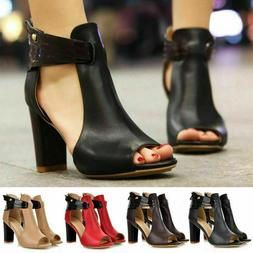 Women Ankle Strap Peep Toe High Block Heel Sandal Party Dres
