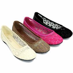 Women Ballet Lace Mesh Flat Slip On Shoes Casual Dress Loafe