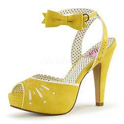 Pin Up Couture Women's Bettie-01 Sandal, Yellow Faux Leather