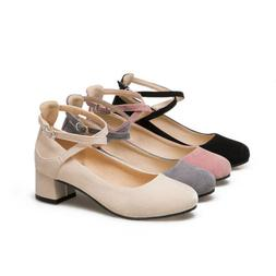 Women Buckle Cross Ankle Strap Low Heels Pumps Block Heel Ro