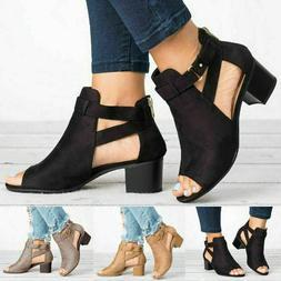 Women Buckle Peep Toe Low Block Heel Ankle Booties Boots San