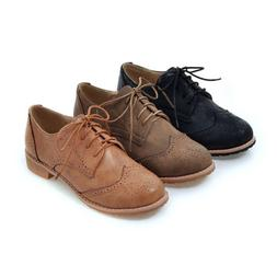 Women Casual Wing Tip Brogue Shoes Fashion Lace Up Oxford Sh