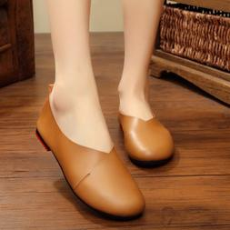 Women Classic Leather Shoes Ballet Casual Slip On Flats Loaf