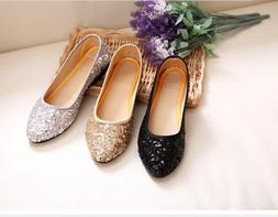Women Comfort Round Toe Casual Flat Loafer Sequins Glitter D