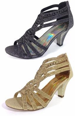 Women Evening Dress Shoes Rhinestones High Heels Platform We