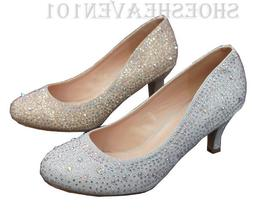 Women Evening Prom Dress Shoes Rhinestones Low Heels Pump Ho