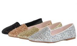 Women Fashion Glitter Dress Ballet Flat Shoes Brilliant Sequ
