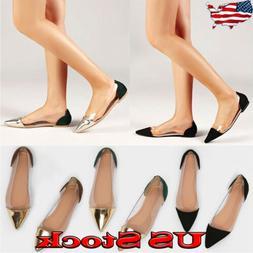 Women Flat Slip On Loafer Clear Transparent Sequins Dress Pu