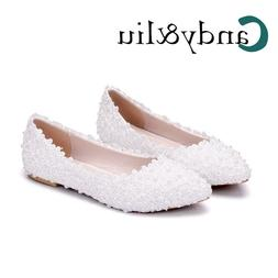 Women Lace Wedding <font><b>Shoes</b></font> Comfort Pointed