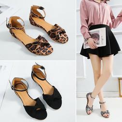Women Low Heels Flats Sandals Summer Ankle Strap Gladaitor L