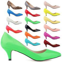 Women Low Mid Kitten Heel Pumps Pointed Toe Work Court Shoes