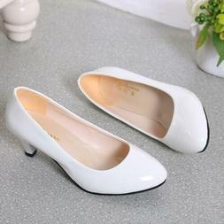 Women Low Mid Kitten Heels Slip On Court Shoes Ladies Pumps