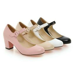 Women Mary Jane Shoes Round Toe Buckle Ankle Strap Dress Pum
