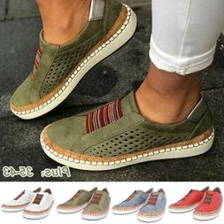Women Moccasins Leather Flat Shoes Loafers Slip On Casual Dr