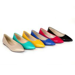 Women Patent leather Pointed Toe Flat Shoes Slip On Ballet F
