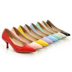 Women Patent leather Pointed Toe Kitten Heels Dress Shoes Sl