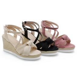 Women Platform Wedge High Heels Ankle Strap Sandals Bow Tie