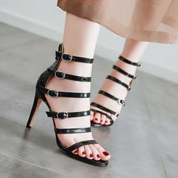 Women Roman Gladiator Sandals Plus Size Stiletto High Heel P