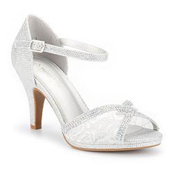 DREAM PAIRS Women's Amore_5 Silver Glitter Fashion Stilettos