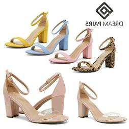 DREAM PAIRS Women's Ankle Strap Chunky Heel Sandals Open Toe