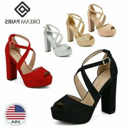 DREAM PAIRS Women's Ankle Strap Chunky High Heel Sandals Pee