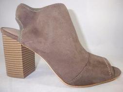 Women's APT 9 UPBEAT Taupe Brown Zip Up Peep Toe Heels Booti