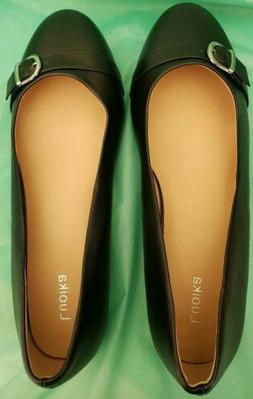 LUOIKA Women's Black Flat Shoes Size 12.5 Wide Size 13 Dress