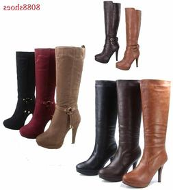 Women's Causal Dress Knee High Platform High Heel Boots Shoe