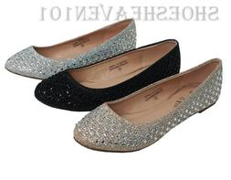 Women's Comfort Dress Flat Shoes Prom Sparkle Sequence Balle
