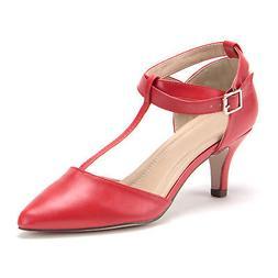 Jazame Women's Ellie T-Strap Pointy-Toe Pumps Kitty Heels Dr