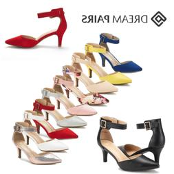 DREAM PAIRS Women Ankle Strap Pointed Toe Low Stilettos Wedd