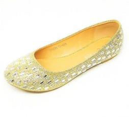 Women's Fashion Dress Ballet Flats Shoes Size 5, 6, 7.5 GOLD