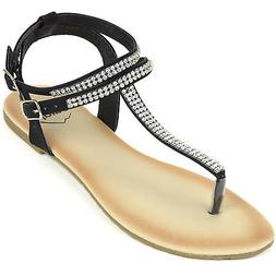 Alpine Swiss Womens Rhinestone T-Strap Sandals Ankle Strap F