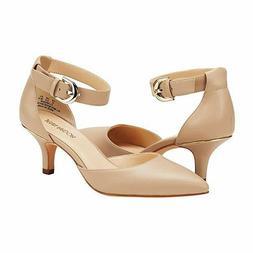 Women's Kitten Heel Pumps Shoes Closed Pointed Toe Ankle Str
