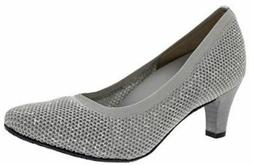Ros Hommerson Women's Kitty Dress Shoes Light Grey Stretch 4