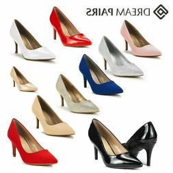 DREAM PAIRS Womens Pump Shoes Slip On Stilettos Low Heel Poi