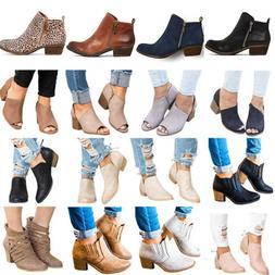 Women's Ladies Mid Heels Booties Ankle Boots Zipper Low Shoe