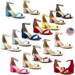 Women's Low Block Heels Chunky Sandals Ankle Strap Wedding D