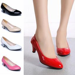 Women's Low Mid Kitten Heels Slip On Court Shoes Ladies Pump