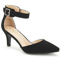 DREAM PAIRS Women's Lowpointed Low Heel Dress Pump Shoes Bla