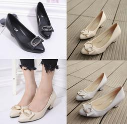 Women's Mid High Chunky Heel Pumps Pointed Toe Slip On Dress