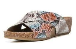Women's NATURAL SOUL KYRA Multi-Color Snake Sandals Slides D
