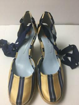 Women's Navy Striped Wedge Heel Shoe Espadrille Lace Up Ankl