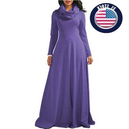 Women New Fashion Home Maxi Long Sleeve Solid Color Casual D