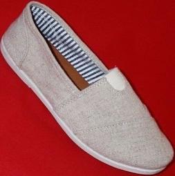 Women's SODA OBJECT Beige Canvas Slip On Loafers Casual/Dres