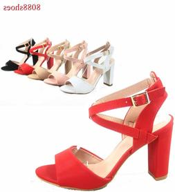 Women's Open Toe Buckle Chunky High Heel Dress Sandal Shoes