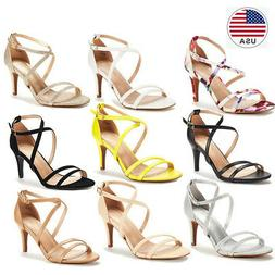 Women's Open Toe Cross Strappy Sandals Heels Ankle Strap Wed