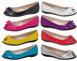 Women's Patent PU Slip On Open Toe Ballet Flats Dress Shoes*